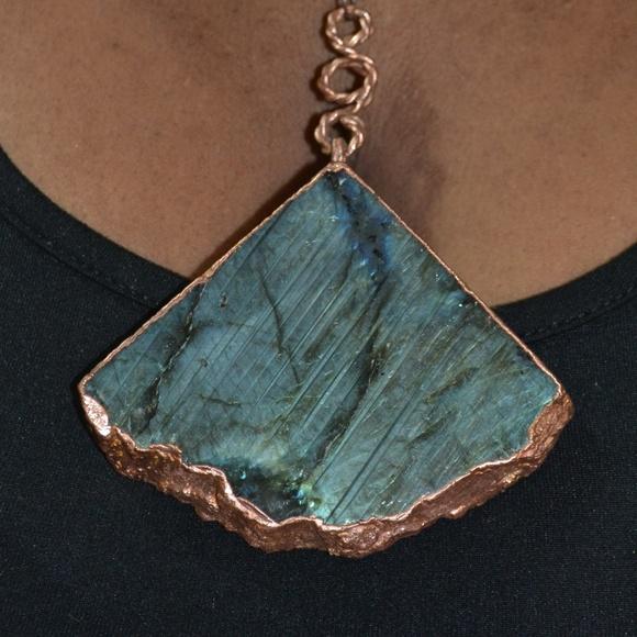 Electroformed Diamond Labradorite Necklace